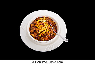 Chili with Cheese on Black