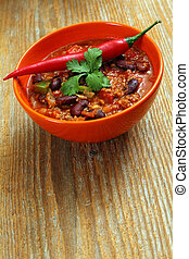 Chili with hot pepper