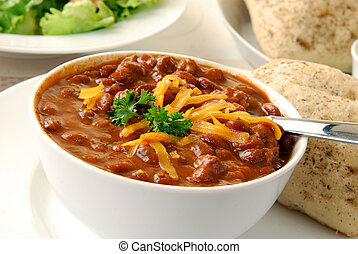 Chili with meat - A bowl of chili con carne