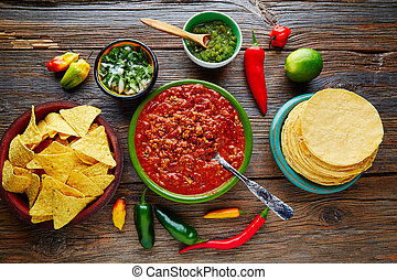 Chili with meat platillo Mexican food