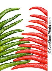 chili, zöld piros