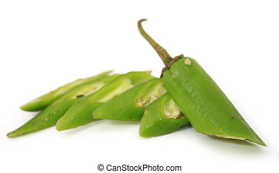 Chilies over white background