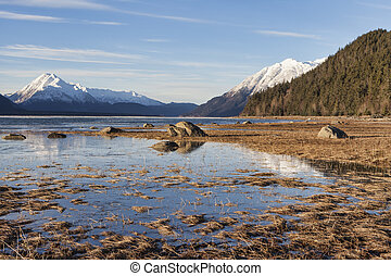 Chilkat Inlet on a sunny winter day.