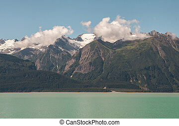 Chilkat range with Chilkat Inlet near Haines, Alaska on a sunny day.