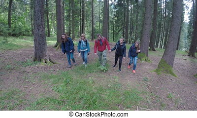 Chill group of young tourists friends trekking a mountain trail walking through forest