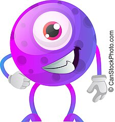 Chill out purple monster with one eye illustration vector on white background