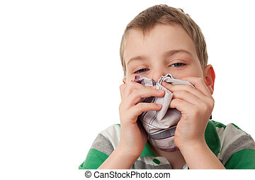 chilled boy wipes scarf nose isolated on white background