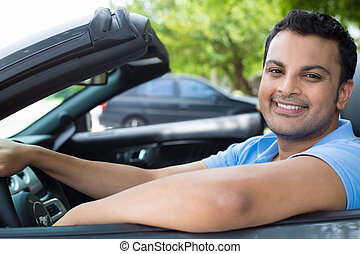 Chilled out guy cruising in car - Closeup portrait, happy ...