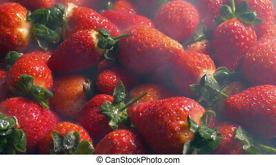 Chilled Pile Of Strawberries With Cold Vapor - Cold vapor...