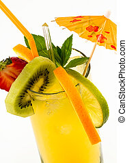 chilled summer drink with fresh fruits