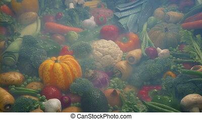 Chilled Vapor Over Pile Of Vegetables - All kinds of...