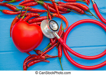 chilli, am besten, essen, für, gesundes herz, begriff, image.
