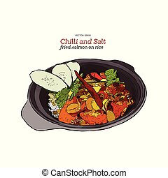 Chilli and salt fried salmon on rice, vector.