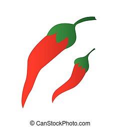 chilli, caldo, vettore, pepe, rosso