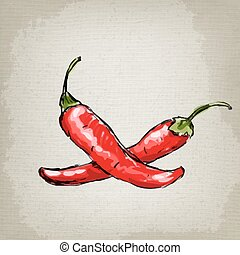 chilli, caldo, vettore, pepper., illustrazione