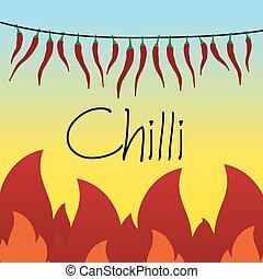 chilli, cordicella, fiamme, essiccamento, pepi caldi, rosso