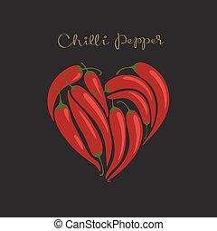 chilli, cuore, caldo, fondo., forma, nero, peperoni, rosso