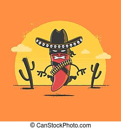 Angry red chili pepper Mexican desperado cartoon character getting ready for duel in desert sunset. Vector illustration
