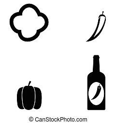 chilli, ensemble, icône