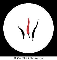 chilli, eps10, tre, caldo, nero, peperoni, rosso, icona