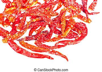 chilli essiccati, caldo, fondo, isolato, bianco rosso