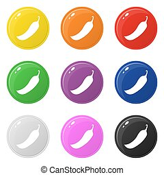 Chilli icons set 9 colors isolated on white. Collection of glossy round colorful buttons. Vector illustration for any design.