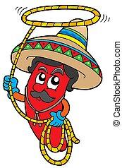 chilli, mexicain, dessin animé, lasso