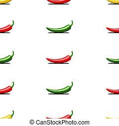 chilli, organico, tessuto, colorito, modello, verdura, seamless, giallo, idea, peperoni, tema, fondo, prodotti, stampa, verde, bianco, creativo, amaro, rosso