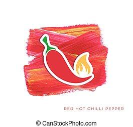 chilli, pepe caldo, rosso, etichetta