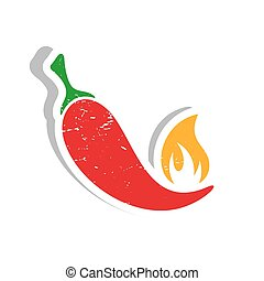 Chilli pepper label - Grunge vector red hot chilli pepper...