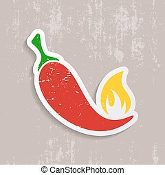 Chilli pepper retro label