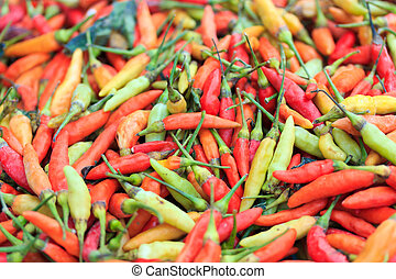 Chilli peppers on market stall in Thailand
