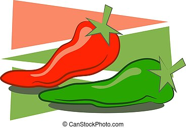 Red and green chilli peppers.