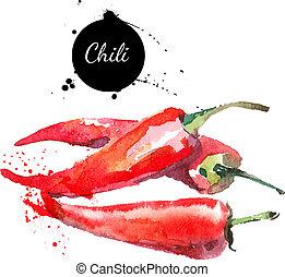 chilli., ręka, akwarela, tło., pociągnięty, biały, malarstwo