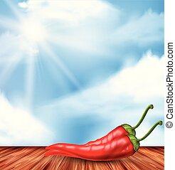 chilli, rouge chaud, fond, nature