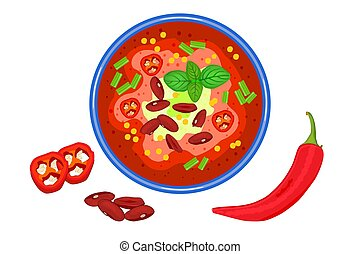 Chilli soup isolated on white background.