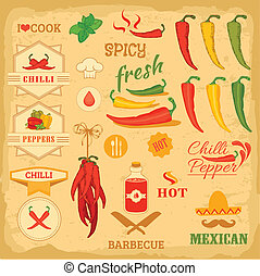chilli spice, chili, isolated pepper vegetables, mexican...