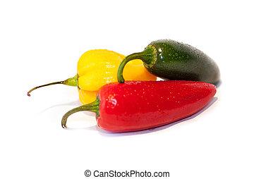 chilli, trzy, mokry