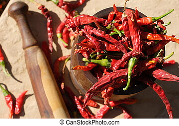 Chillies in pestle & mortar