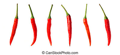 Chillies peppers on a white background