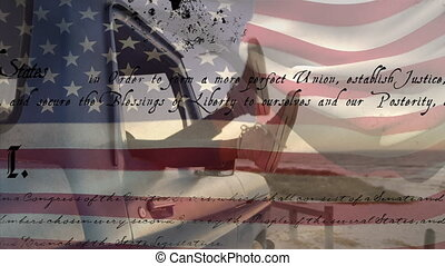 Animation of U.S. flag waving with U.S. Constitution text rolling over feet hanging out of a car window. United States of America flag and holiday concept digital composition