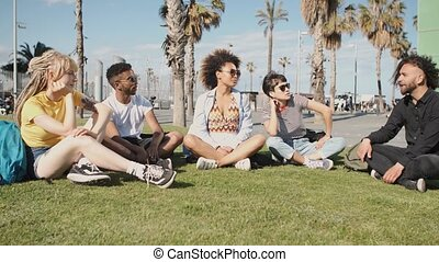 Chilling young friends on summer lawn - Stylish modern...