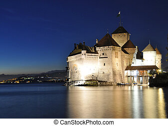 Chillion castle at night. Geneva lake, Switzerland