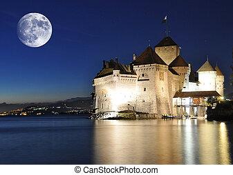 Chillion castle at night. Geneva lake, Switzerland