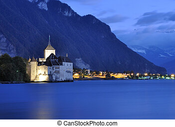 Chillion castle at night, Geneva lake, Switzerland