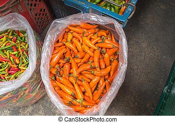 chillis, vendita, in, tailandese, mercato