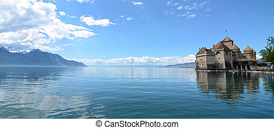 Chillon Castle at Geneva lake in Switzerland.