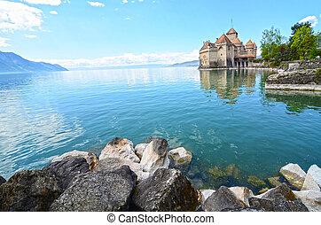 Chillon Castle at Geneva lake in Switzerland.