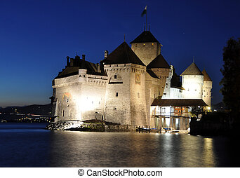 Chillon castle at night. Geneva lake, Switzerland