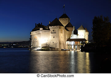 Chillon castle at night. Geneva lake, Switzerland